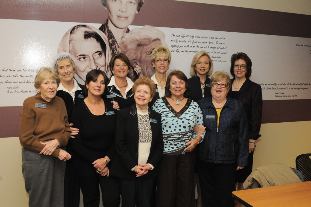 Pictured left to right are Gayle Austin, Susie Shew, Karen DeNune, Judy Potter, Ellie Brunner, Linda Jennings, Judith Herb, Marianne Ballas, Judy Gutteridge, and Chris Spengler in the Women & Philanthropy Classroom in the College of Business Savage & Associates Complex for Business Learning and Engagement.