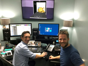 Eric Miller, right, and Jeff Shiffman, co-owner of Boom Box Post, work on sound effects for Bink.