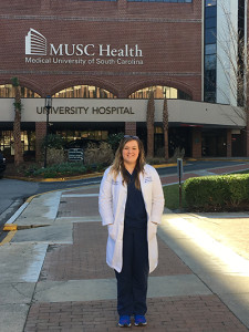 Nicole Dominiak posed for a photo this month outside the Medical University of South Carolina.
